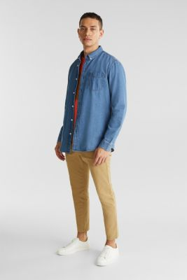 Denim shirt in 100% cotton, BLUE MEDIUM WASH, detail