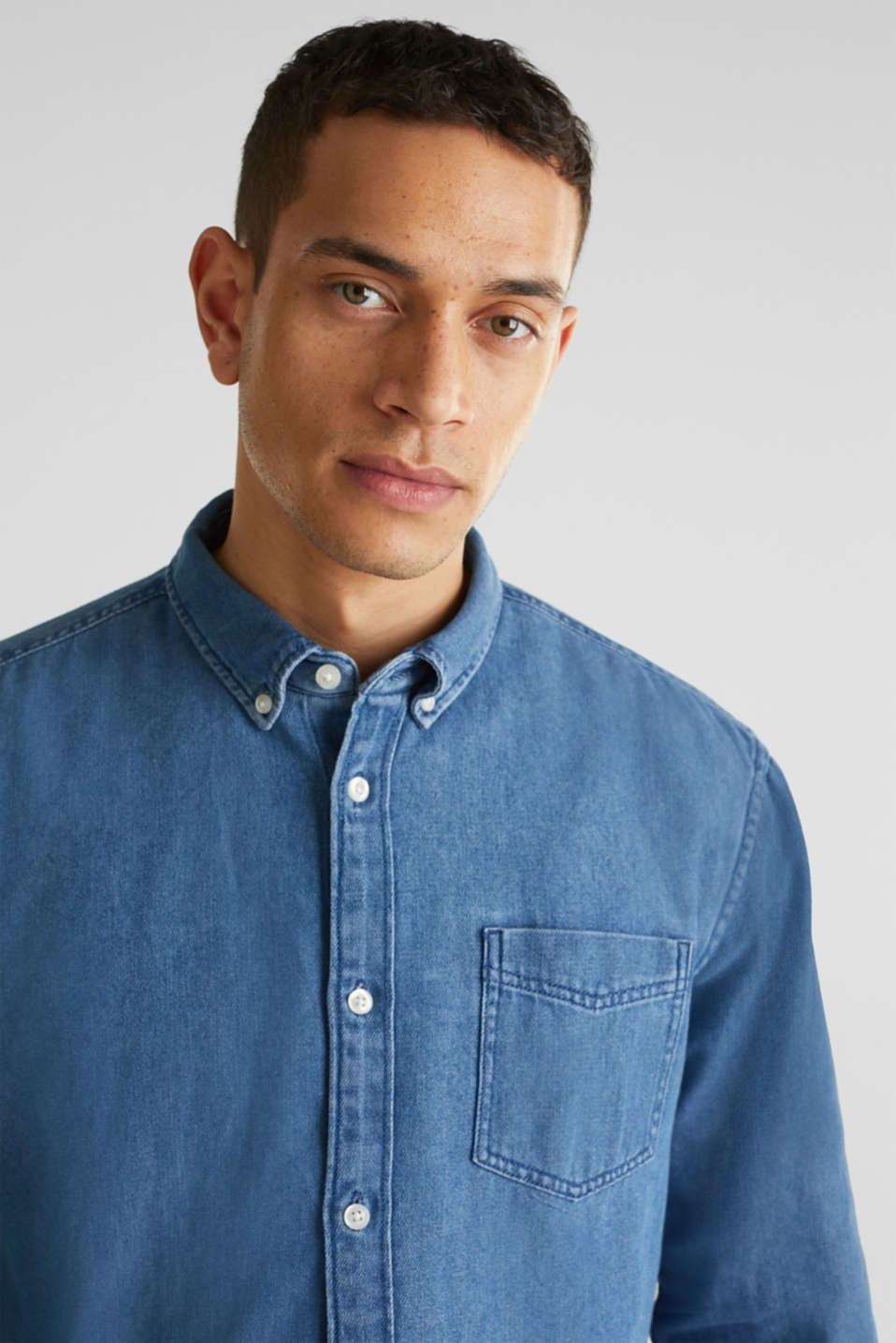 Denim shirt in 100% cotton, BLUE MEDIUM WASH, detail image number 5