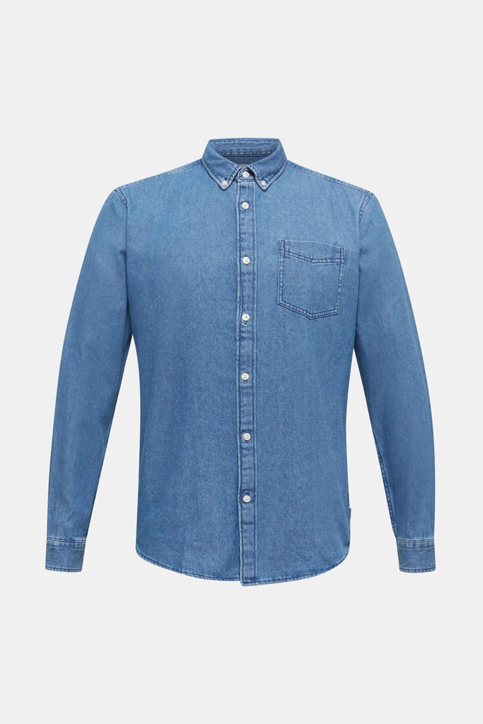 Denim shirt in 100% cotton, BLUE MEDIUM WASH, detail image number 6