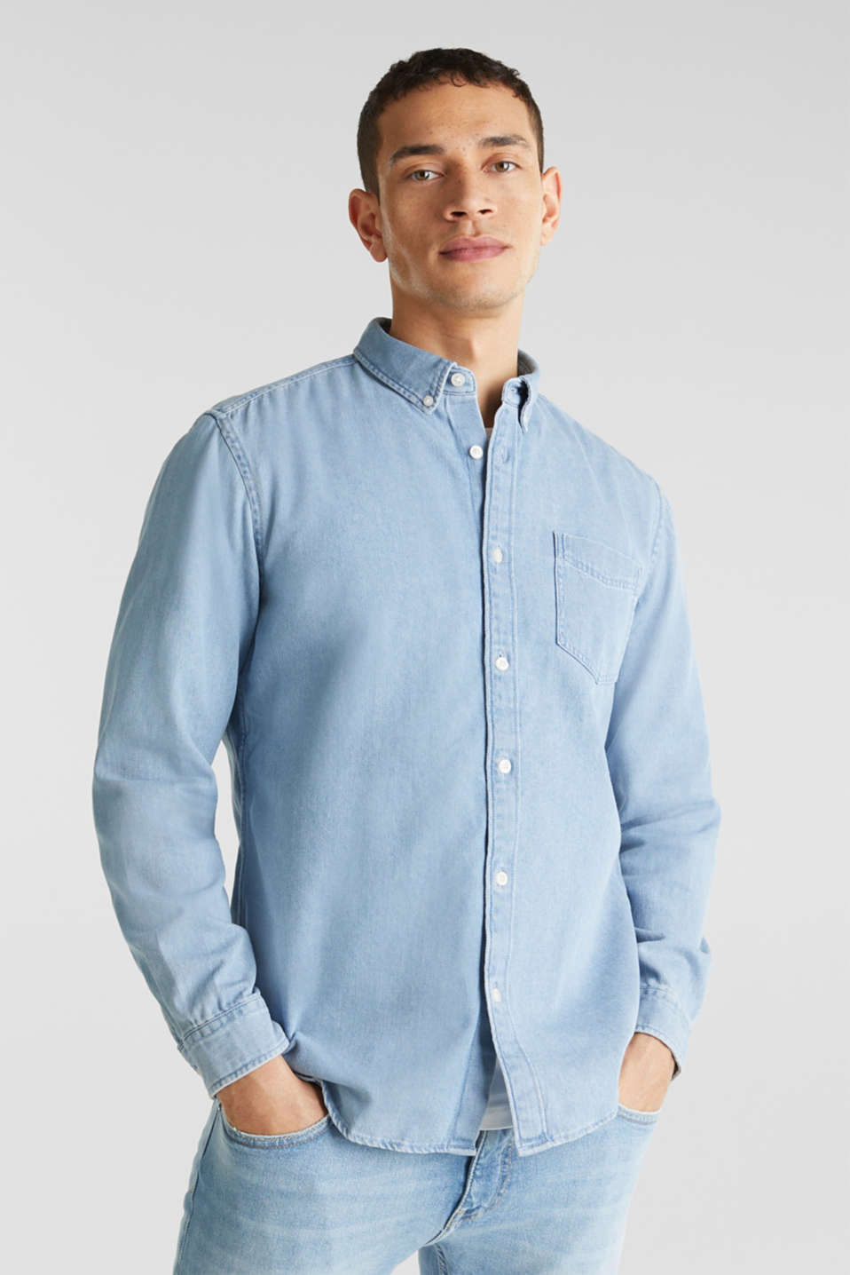 Denim shirt in 100% cotton, BLUE LIGHT WASH, detail image number 0