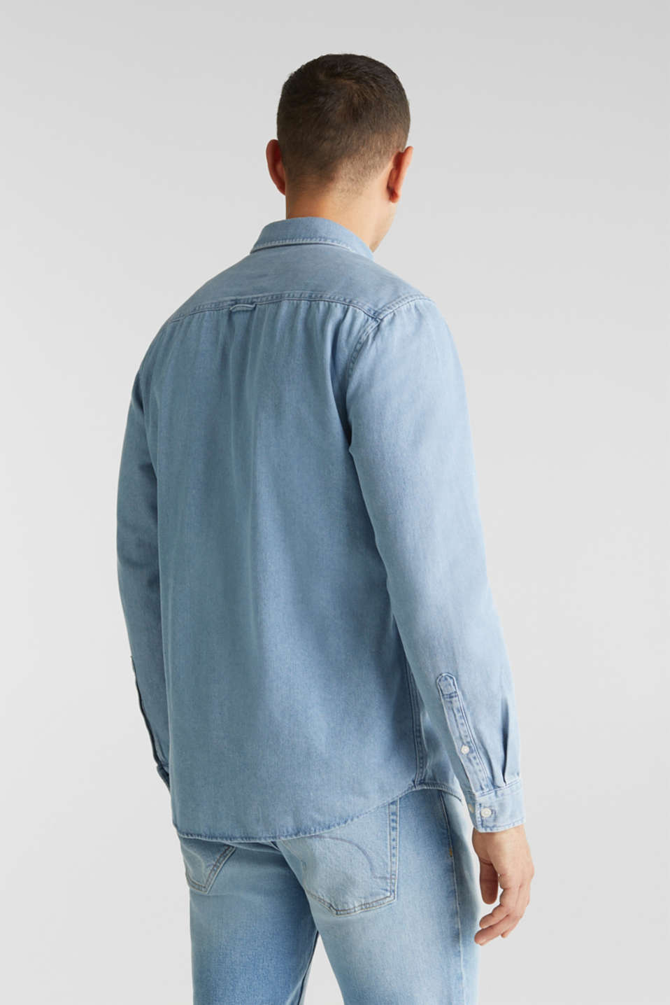 Denim shirt in 100% cotton, BLUE LIGHT WASH, detail image number 3