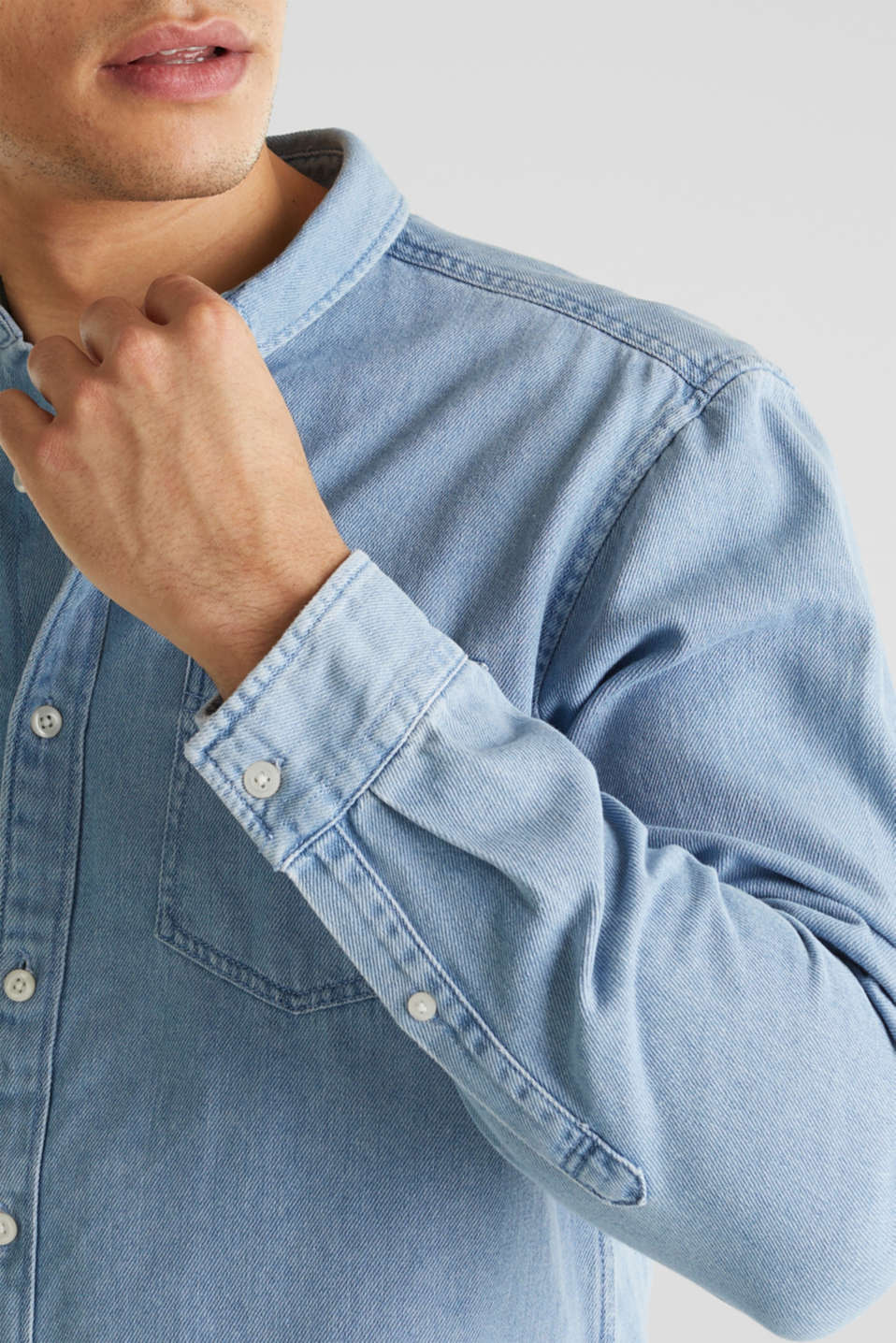 Denim shirt in 100% cotton, BLUE LIGHT WASH, detail image number 2