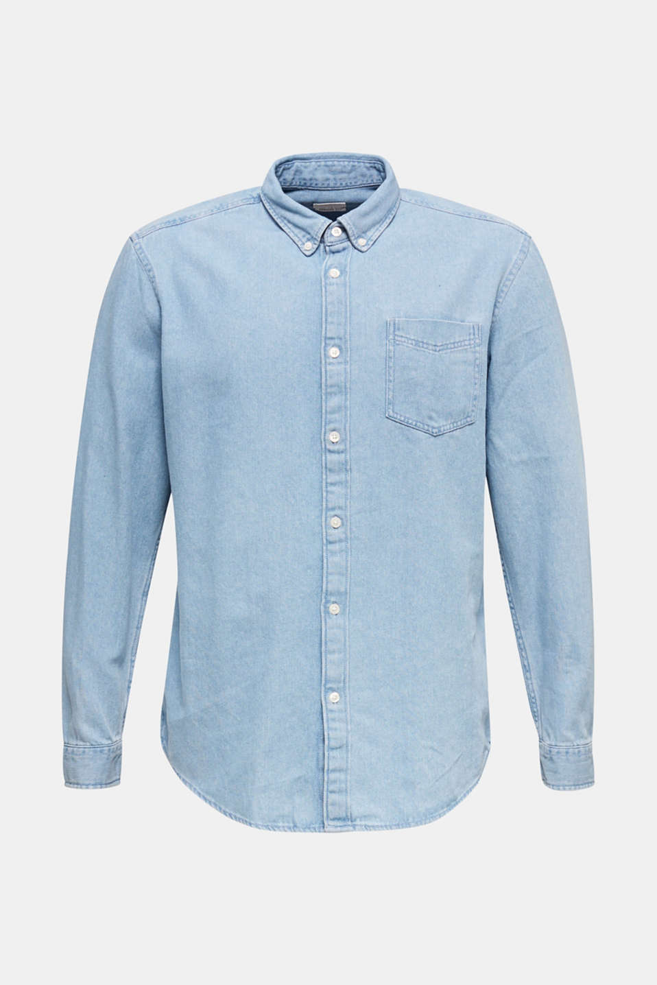 Denim shirt in 100% cotton, BLUE LIGHT WASH, detail image number 5