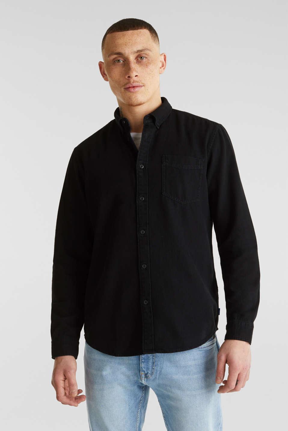 Denim shirt in 100% cotton, BLACK DARK WASH, detail image number 0