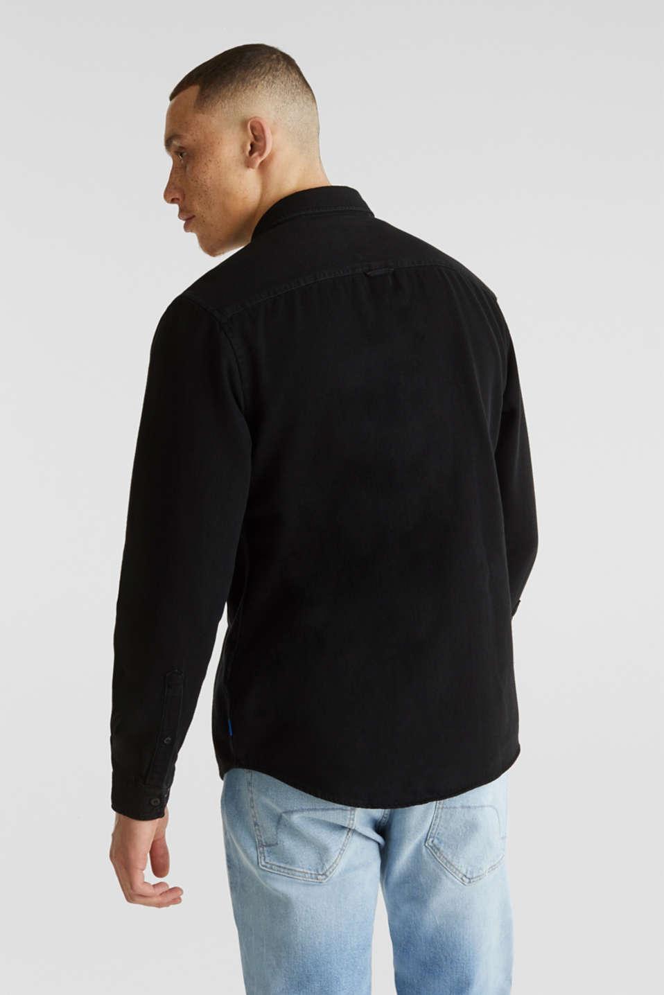Denim shirt in 100% cotton, BLACK DARK WASH, detail image number 3