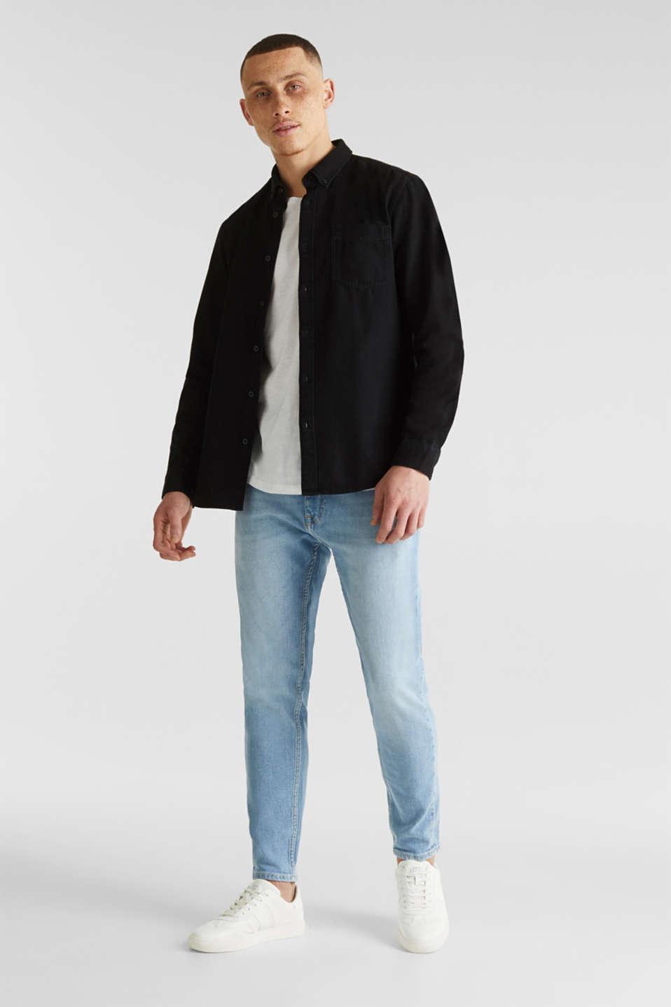 Denim shirt in 100% cotton, BLACK DARK WASH, detail image number 1