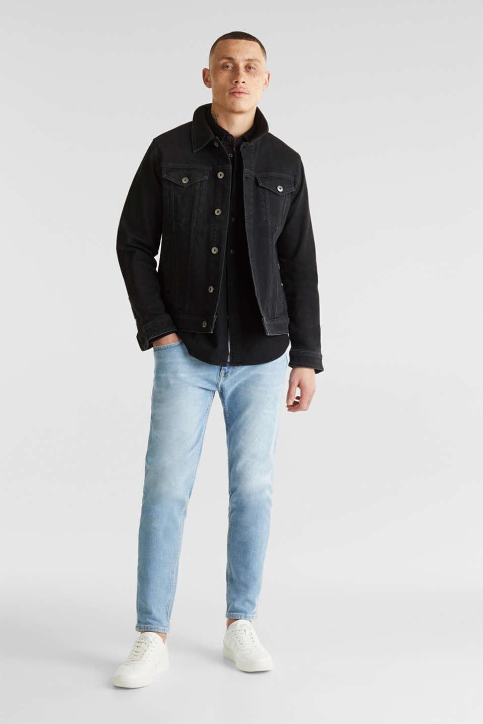 Denim shirt in 100% cotton, BLACK DARK WASH, detail image number 7