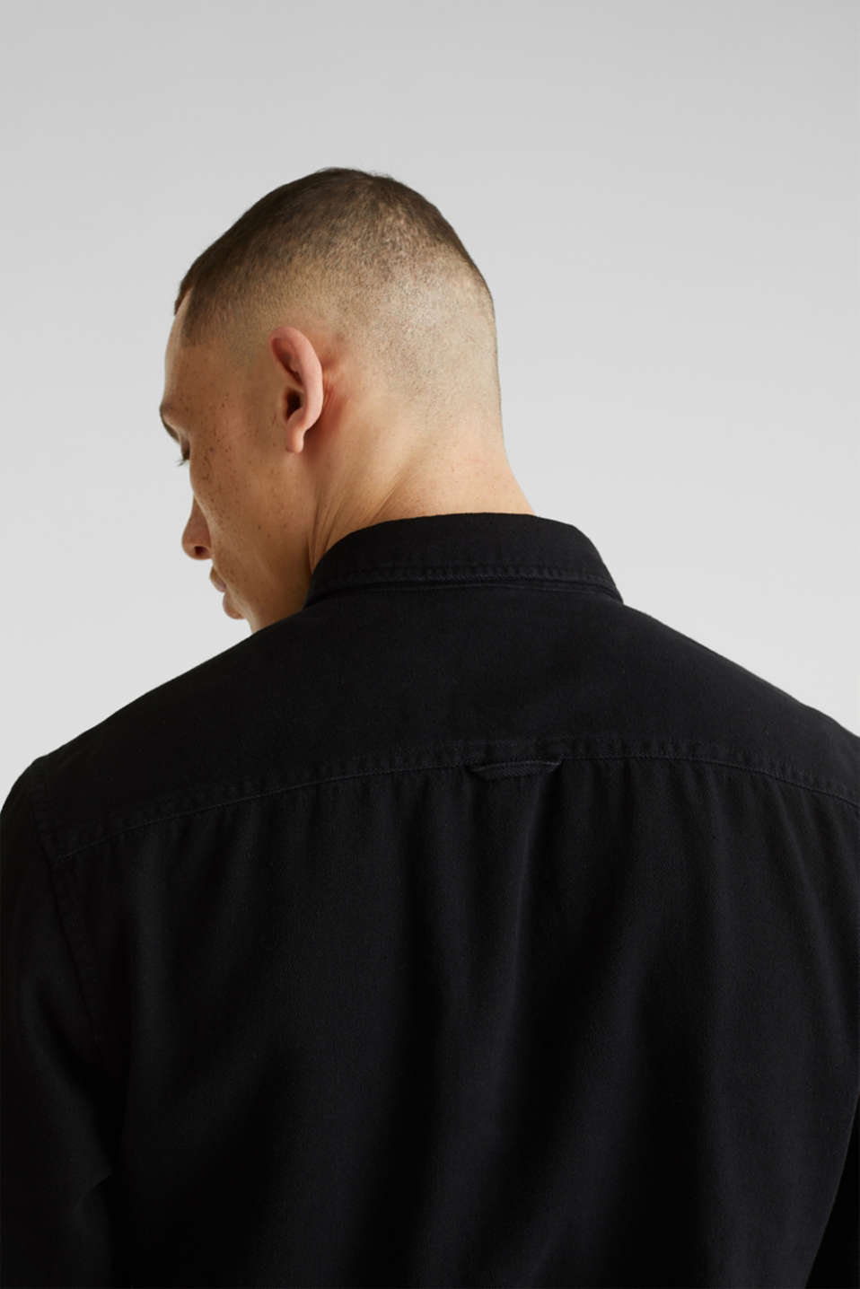 Denim shirt in 100% cotton, BLACK DARK WASH, detail image number 2