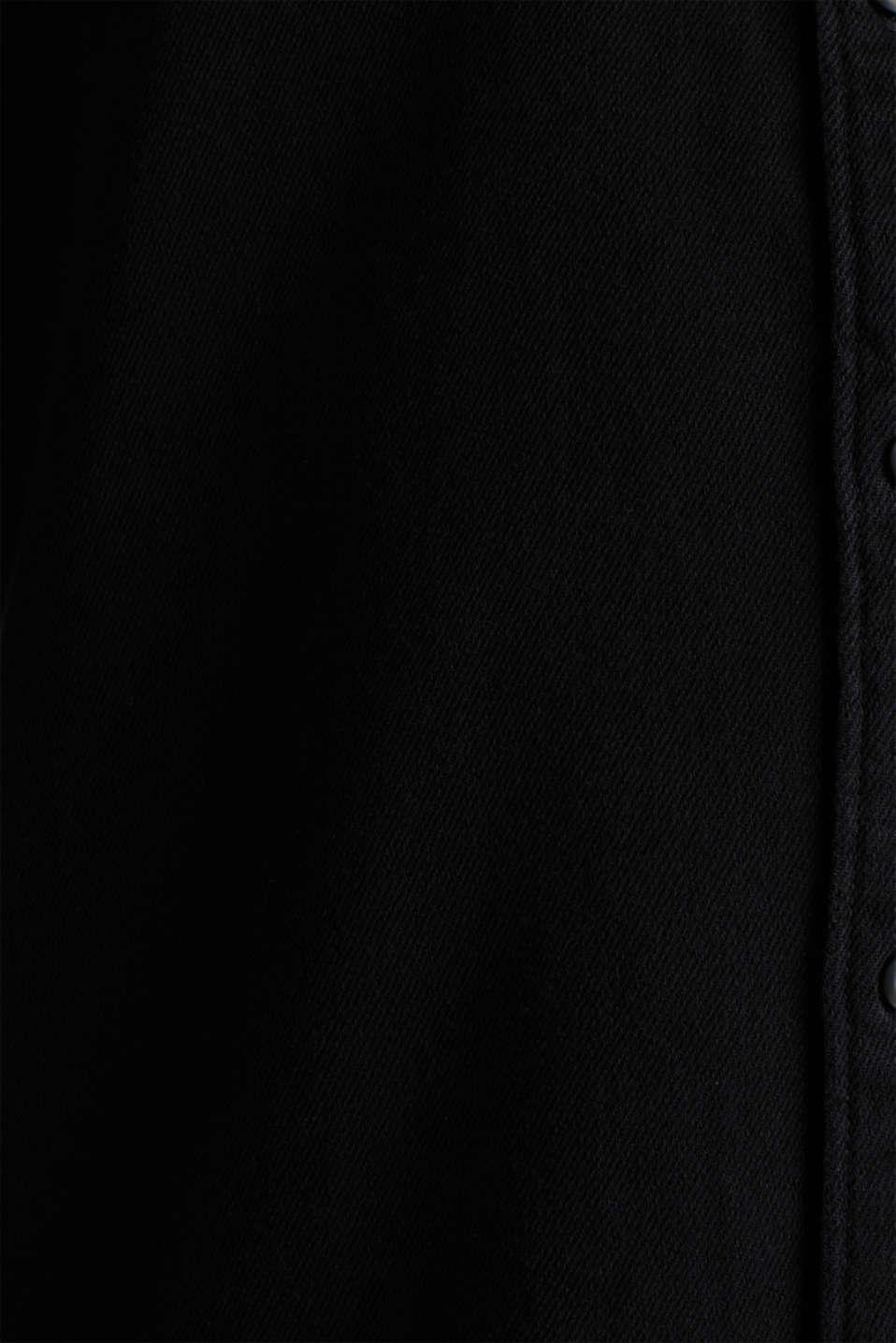 Denim shirt in 100% cotton, BLACK DARK WASH, detail image number 4