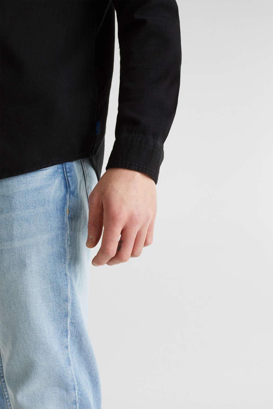 Denim shirt in 100% cotton, BLACK DARK WASH, detail image number 5