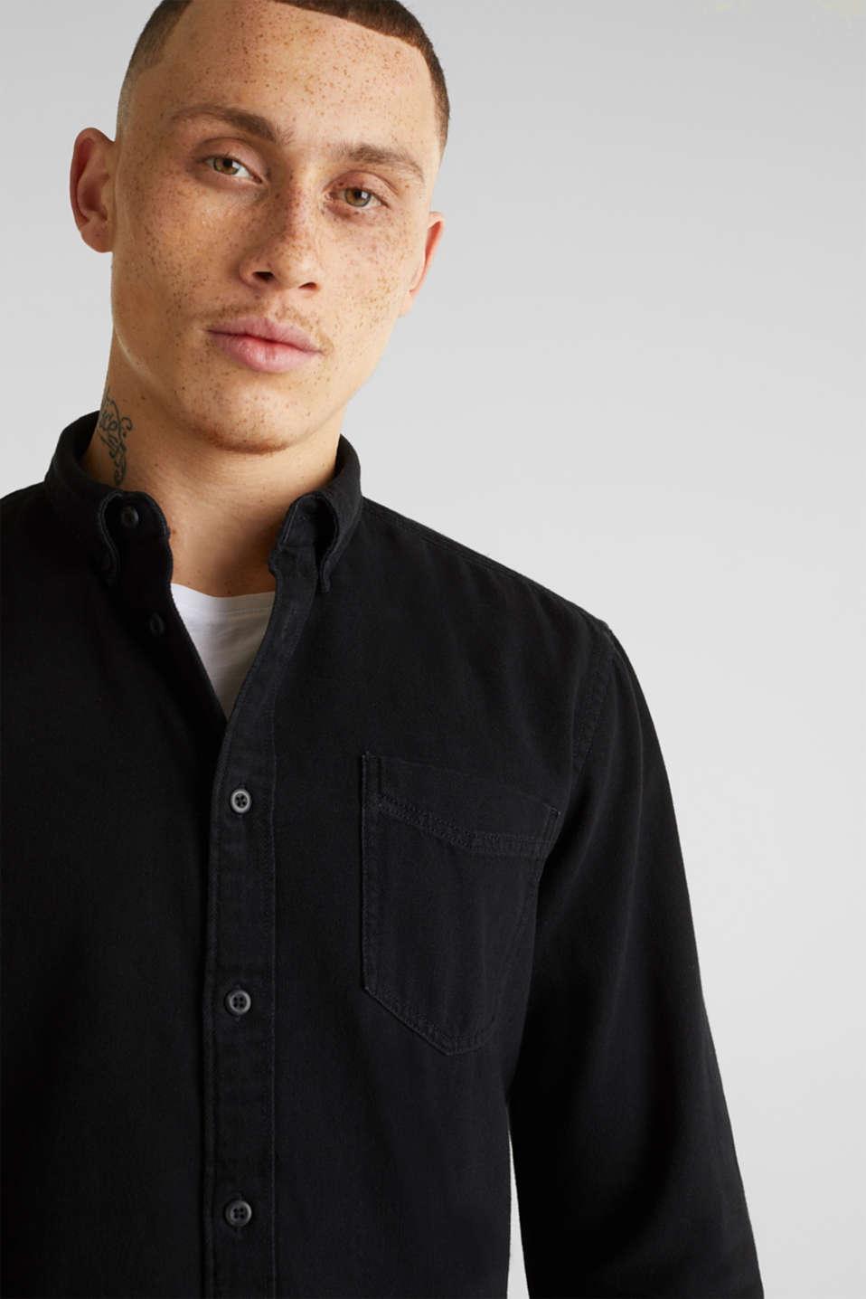Denim shirt in 100% cotton, BLACK DARK WASH, detail image number 6