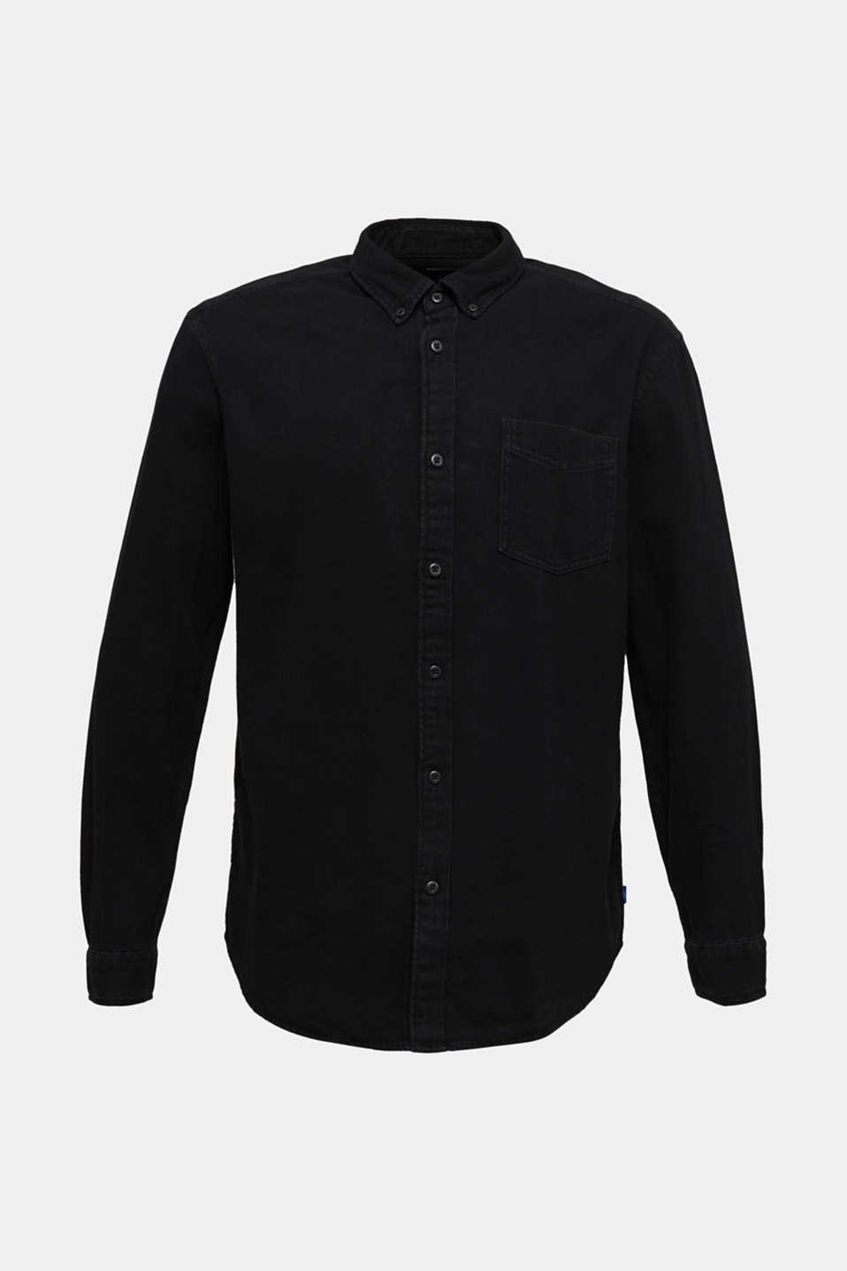 Denim shirt in 100% cotton, BLACK DARK WASH, detail image number 8