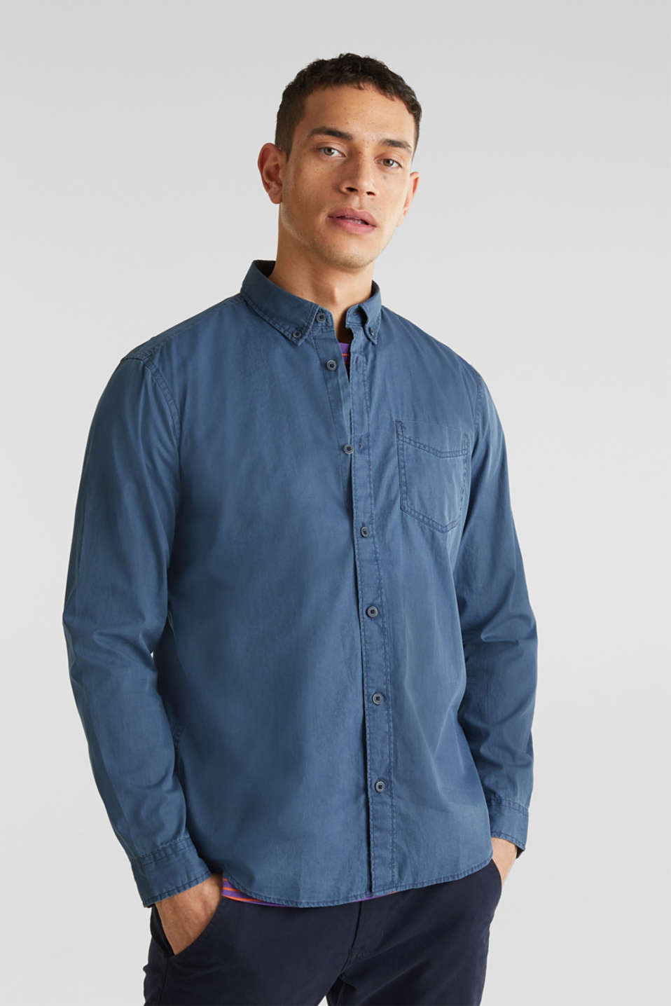 100% cotton shirt, DARK BLUE 2, detail image number 0
