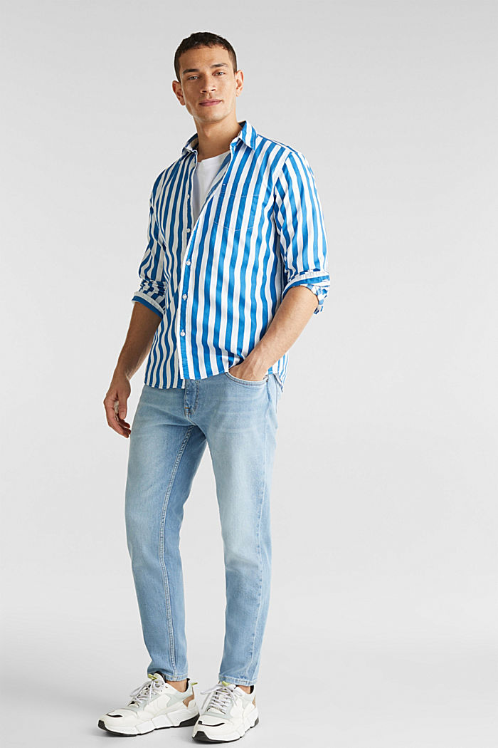 Striped shirt, 100% cotton, BLUE, detail image number 0