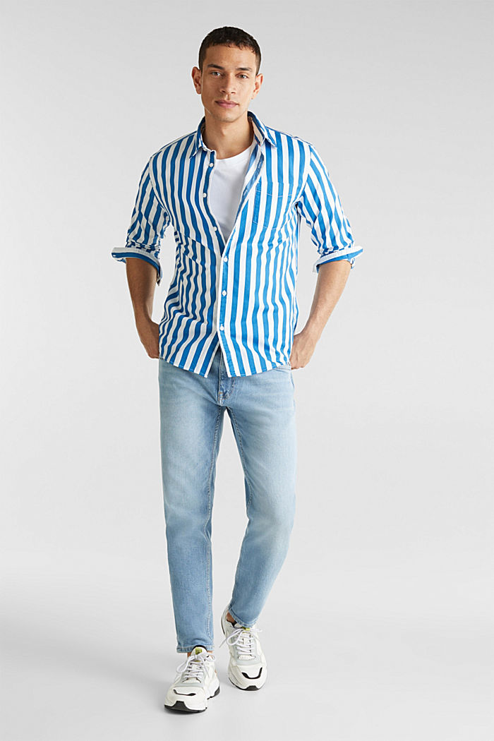 Striped shirt, 100% cotton, BLUE, detail image number 1
