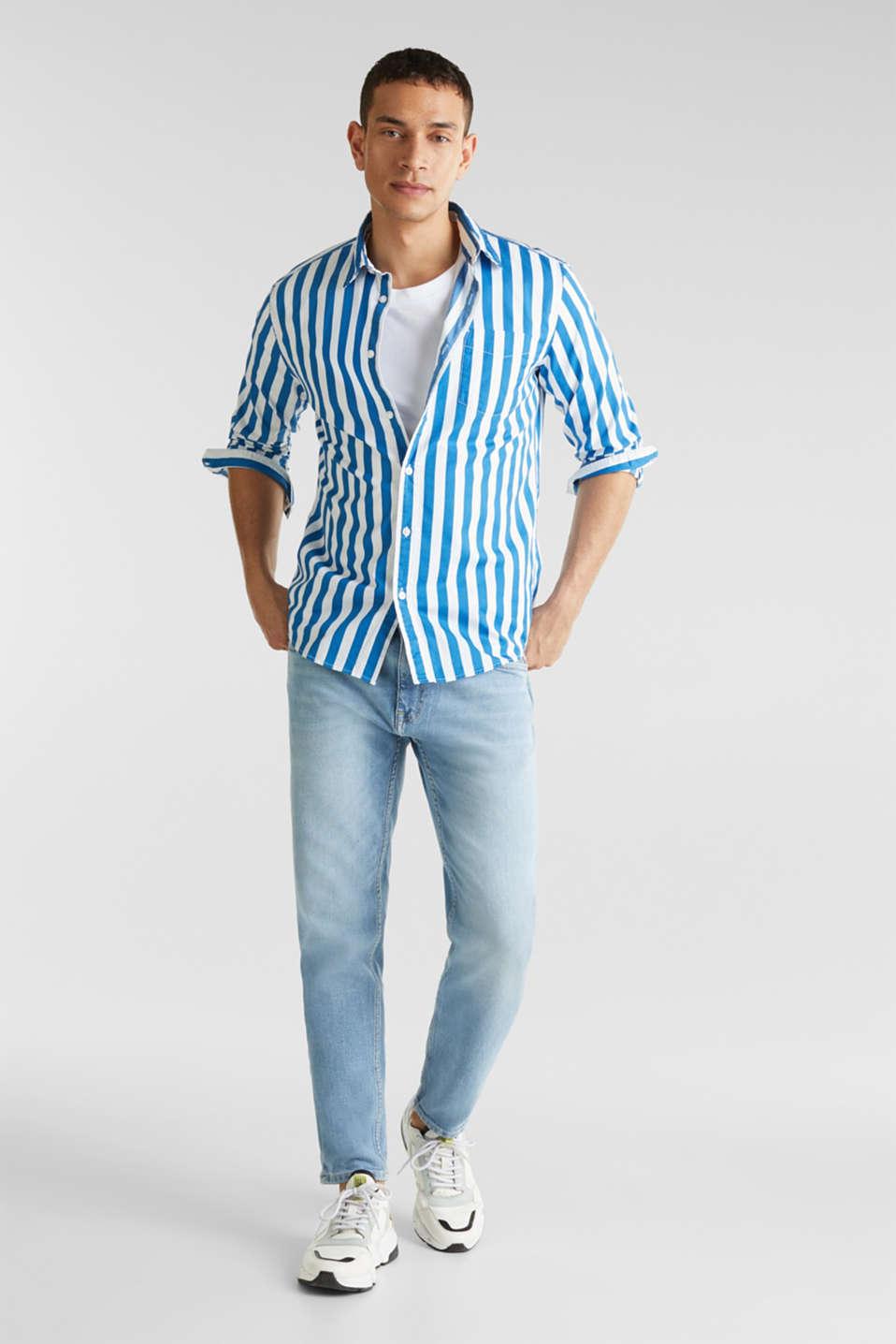 Striped shirt, 100% cotton, BLUE 3, detail image number 1