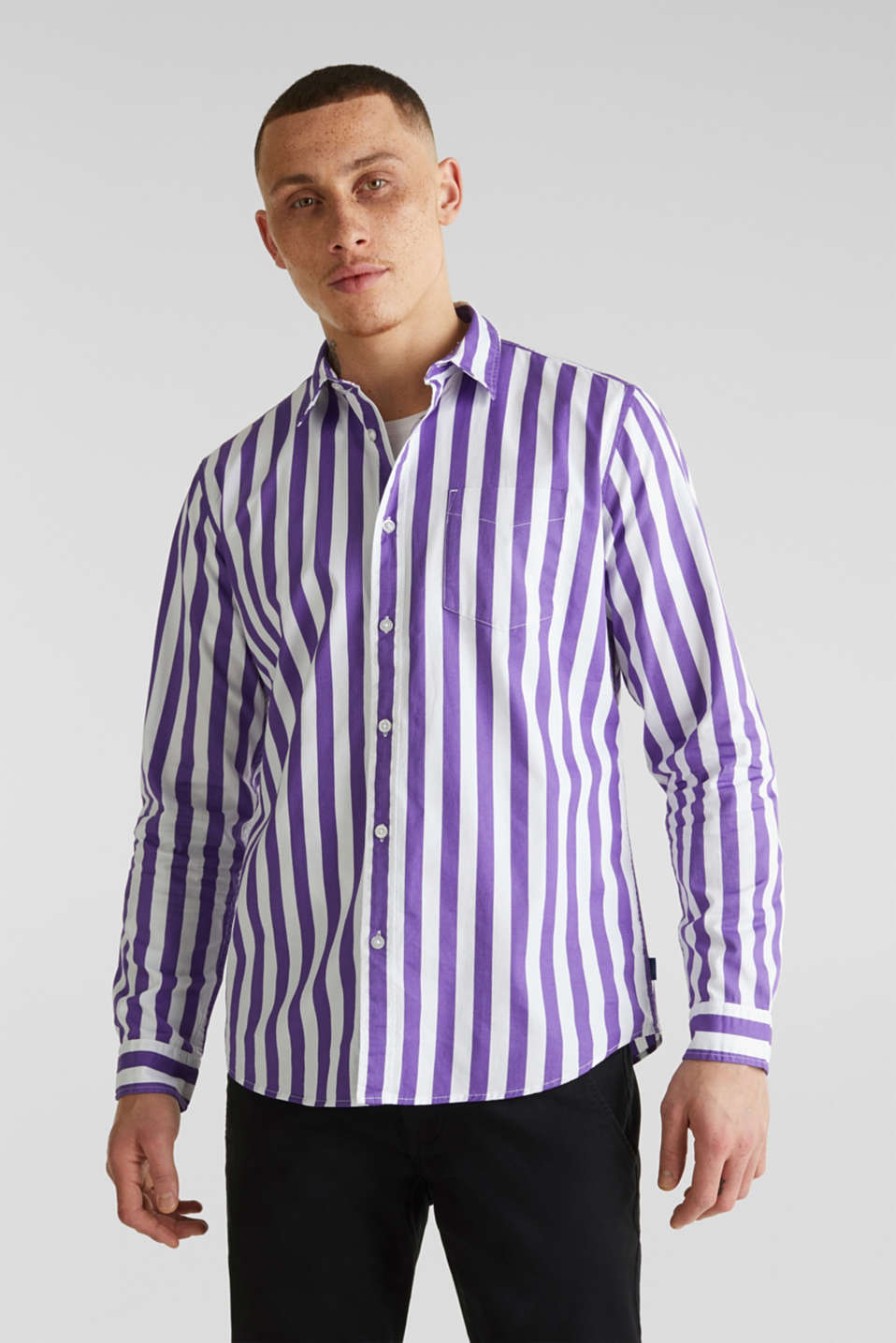 Striped shirt, 100% cotton, PURPLE 3, detail image number 0