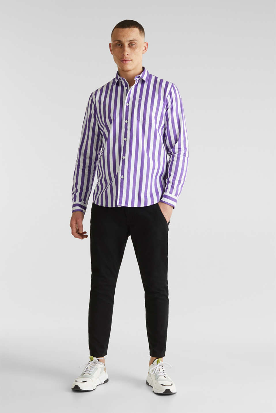 Striped shirt, 100% cotton, PURPLE 3, detail image number 1