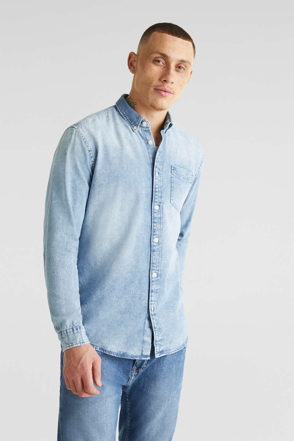 Denim shirt in 100% cotton, BLUE BLEACHED, detail image number 0