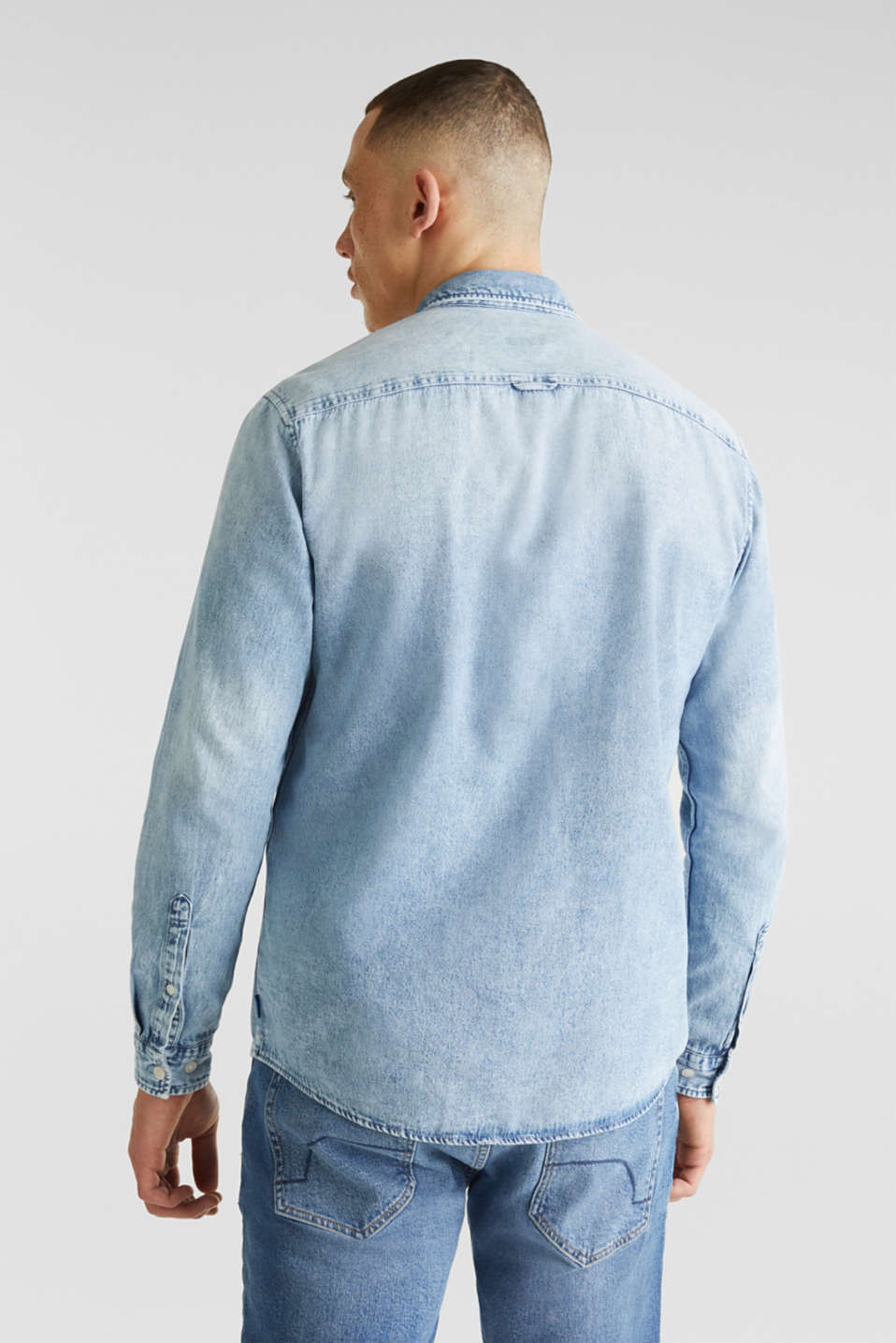 Denim shirt in 100% cotton, BLUE BLEACHED, detail image number 2
