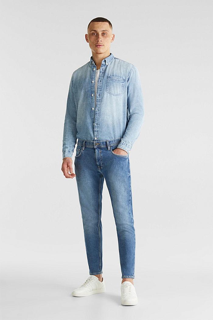 Jeansskjorta i 100% bomull, BLUE BLEACHED, detail image number 5