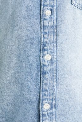 Denim shirt in 100% cotton, BLUE BLEACHED, detail