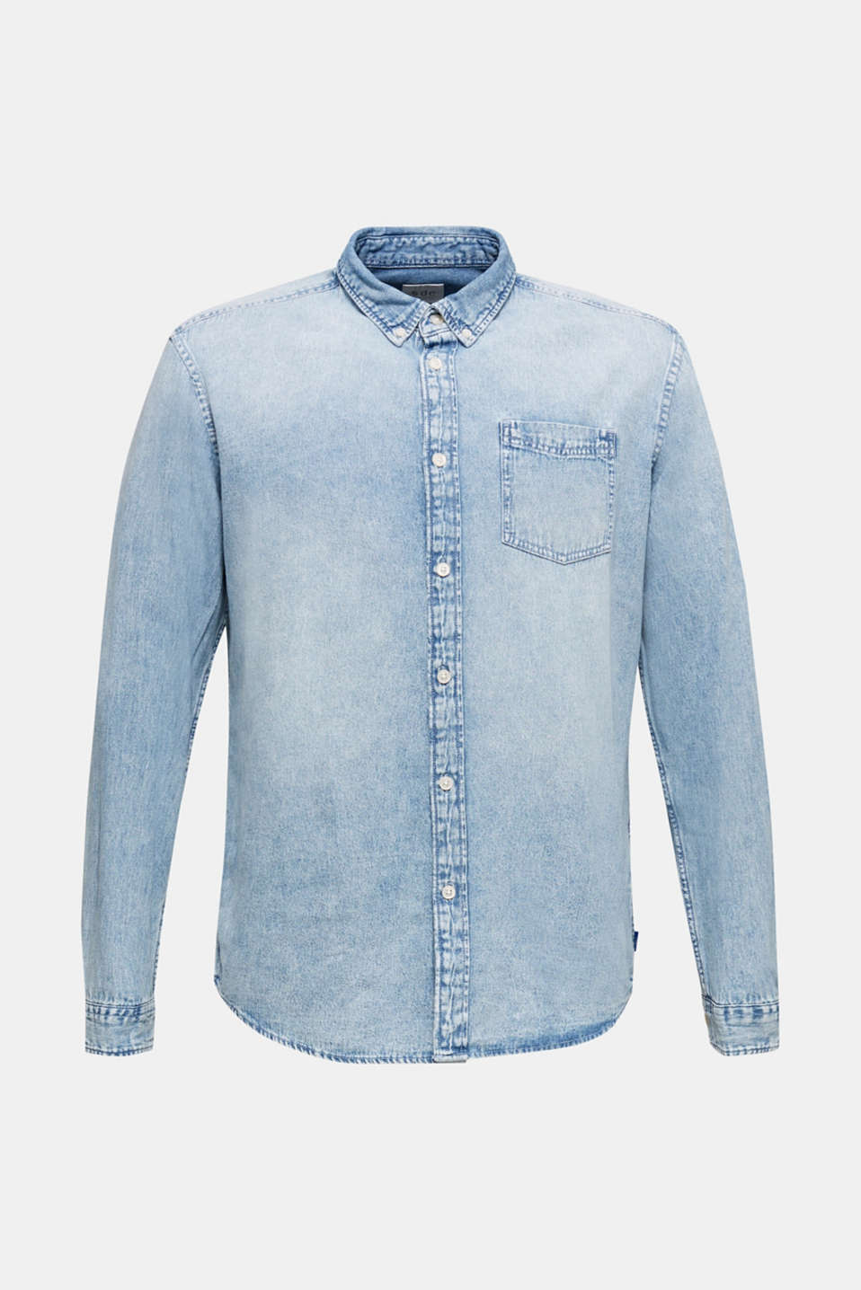 Denim shirt in 100% cotton, BLUE BLEACHED, detail image number 7