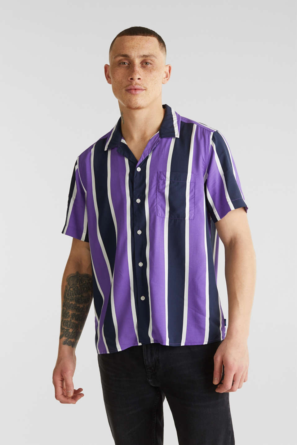 Bowling shirt with a Cuban collar, PURPLE 3, detail image number 0