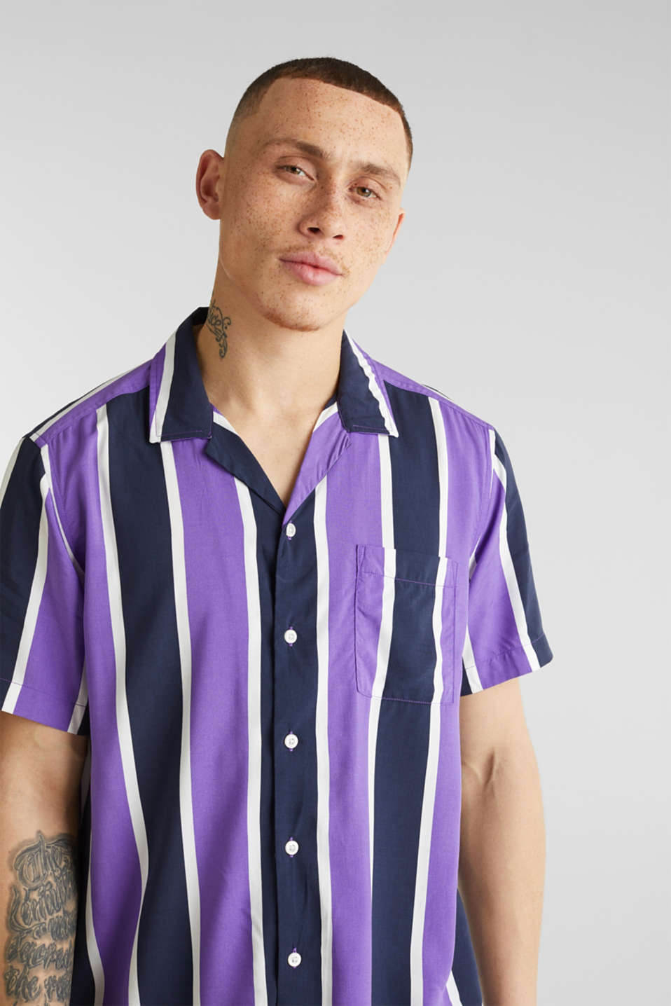 Bowling shirt with a Cuban collar, PURPLE 3, detail image number 4