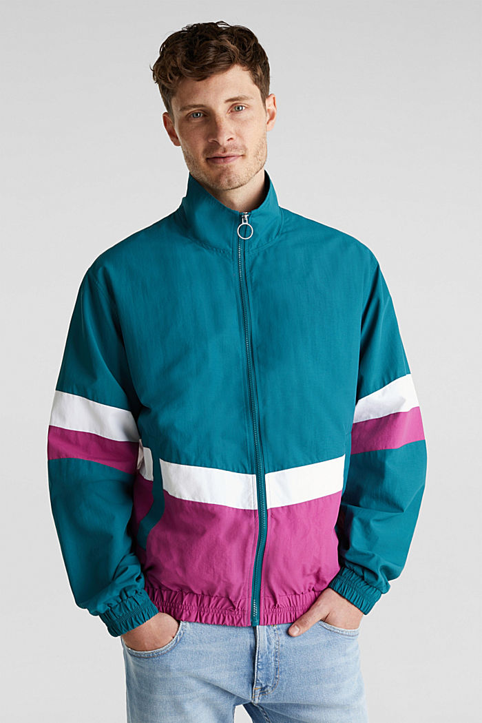 Retro bomber jacket made of nylon, DARK TEAL GREEN, detail image number 0