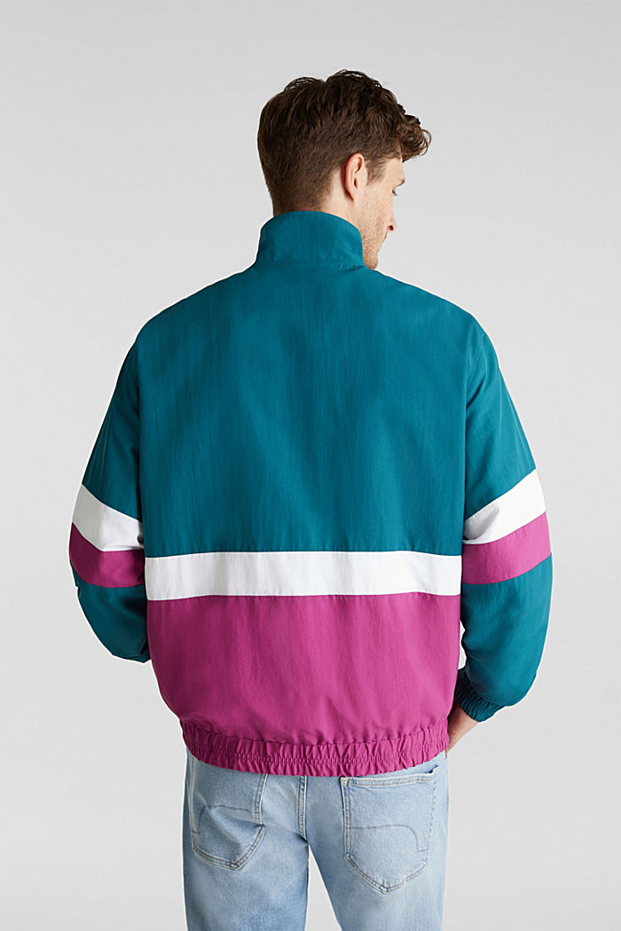 Retro bomber jacket made of nylon, DARK TEAL GREEN, detail image number 3