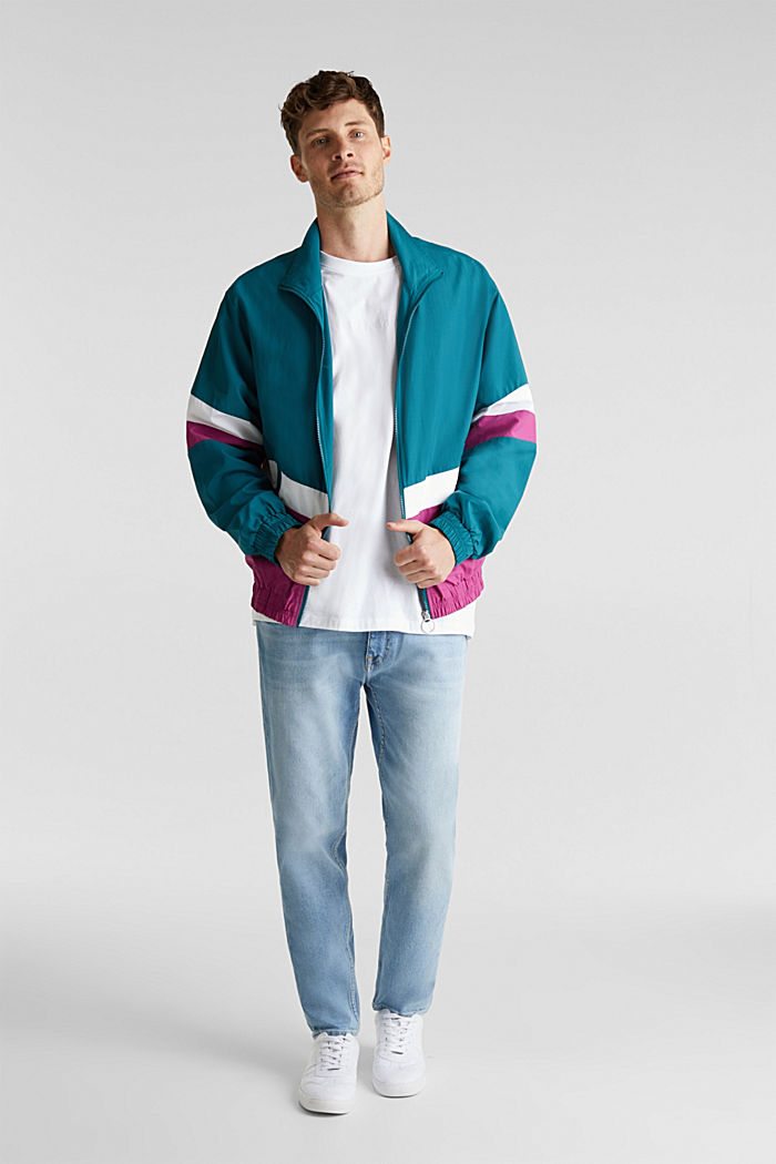 Retro bomber jacket made of nylon, DARK TEAL GREEN, detail image number 1