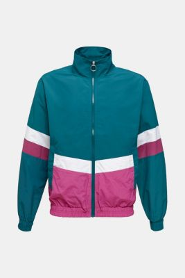 Retro bomber jacket made of nylon, DARK TEAL GREEN, detail