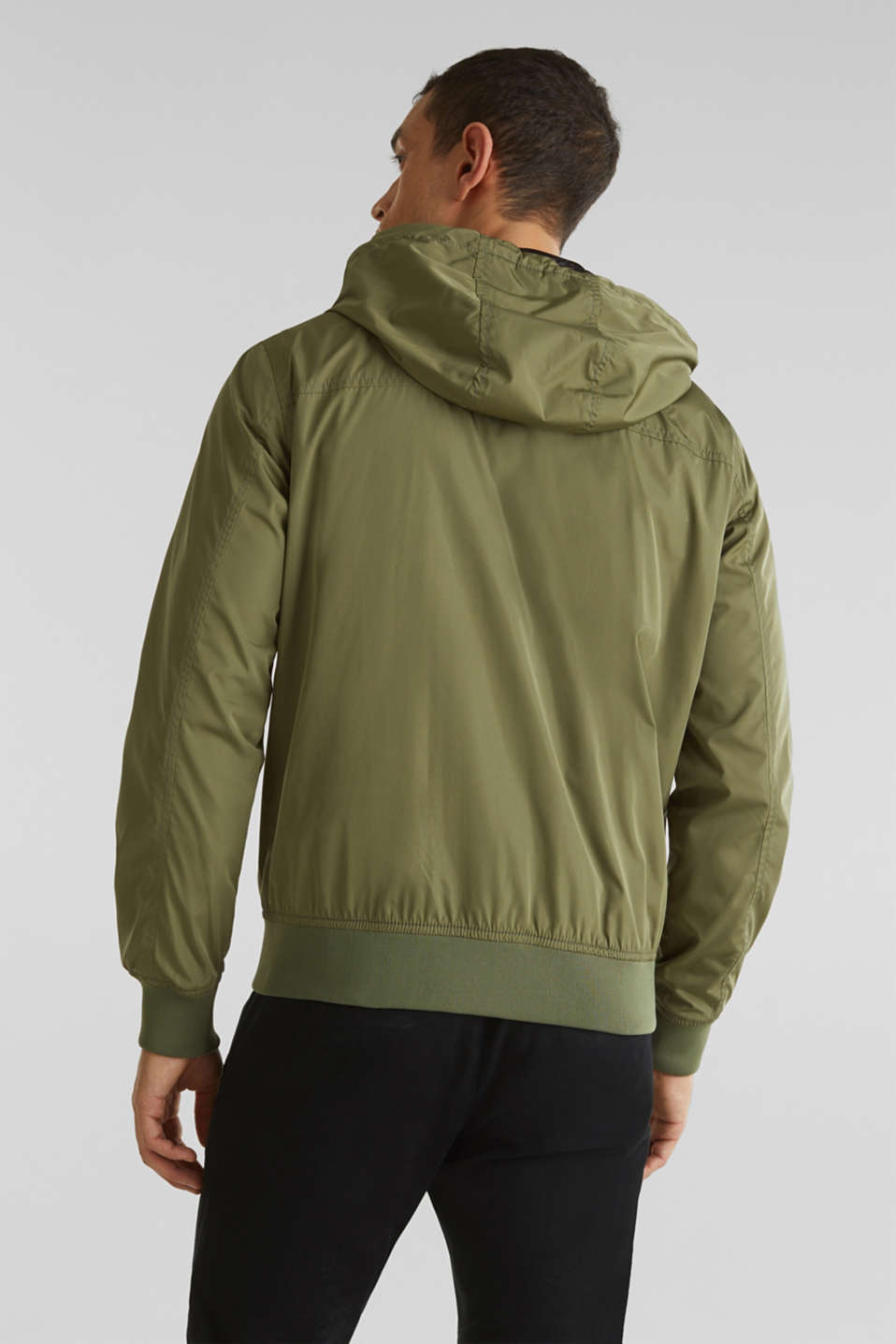 Nylon bomber jacket with a hood, OLIVE, detail image number 3