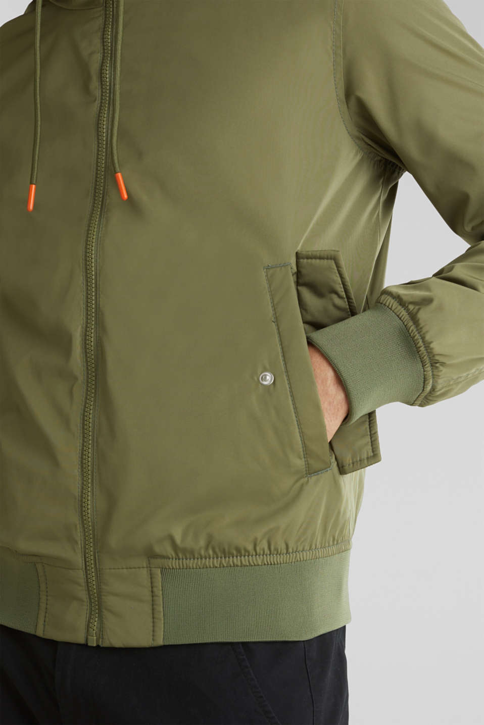 Nylon bomber jacket with a hood, OLIVE, detail image number 2