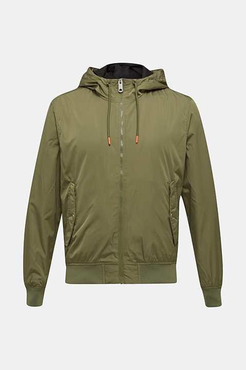 Nylon bomber jacket with a hood