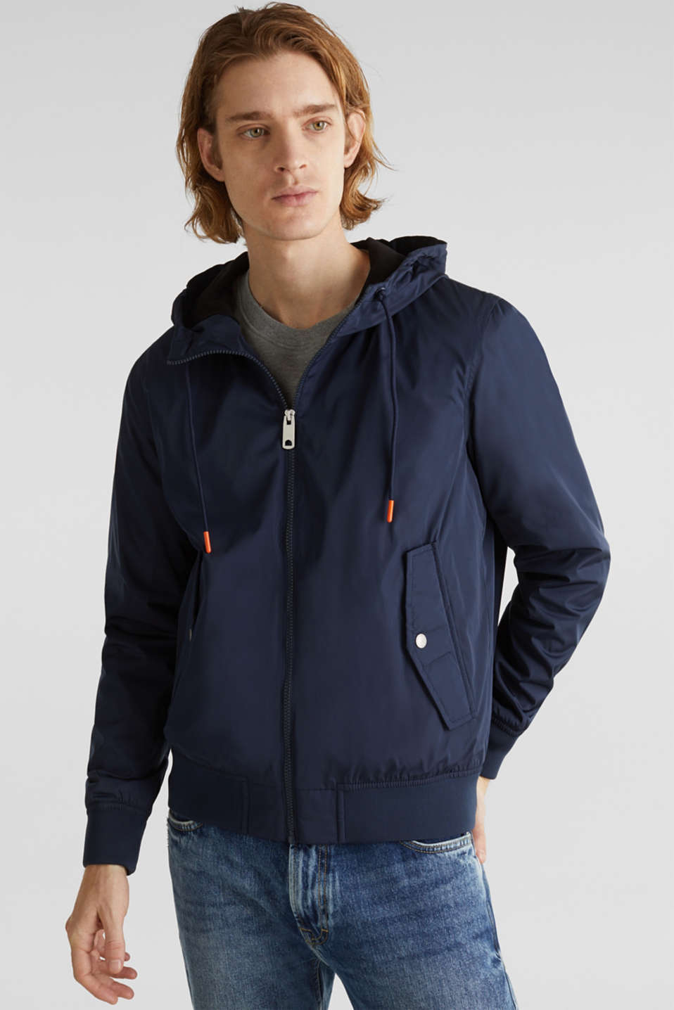 Nylon bomber jacket with a hood, DARK BLUE, detail image number 0