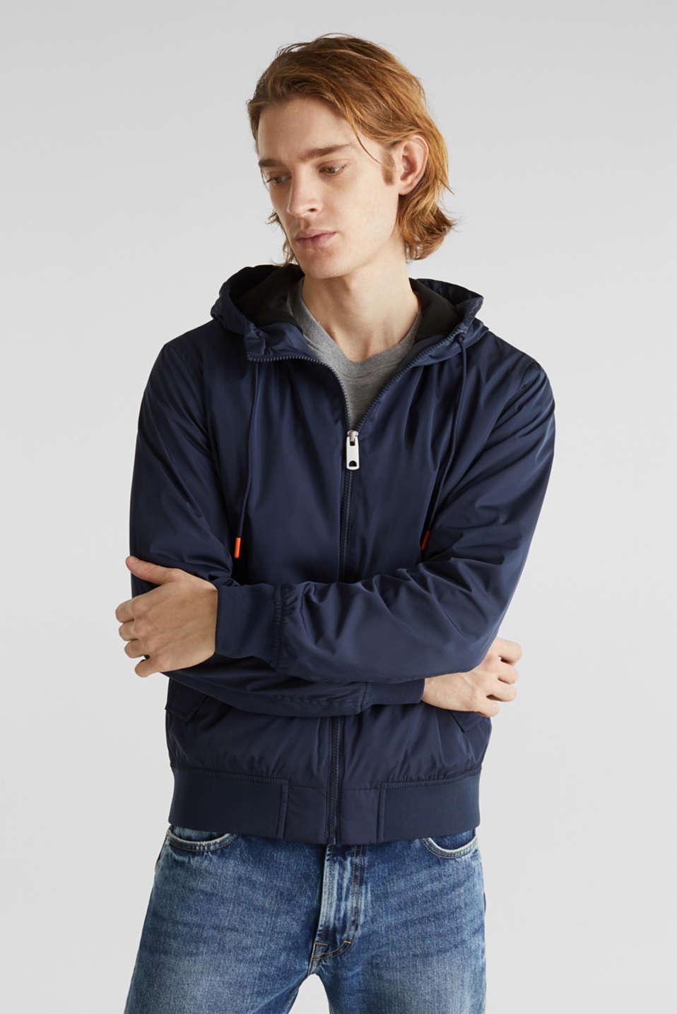 Nylon bomber jacket with a hood, DARK BLUE, detail image number 4