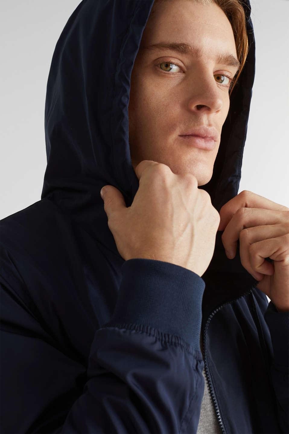 Nylon bomber jacket with a hood, DARK BLUE, detail image number 2