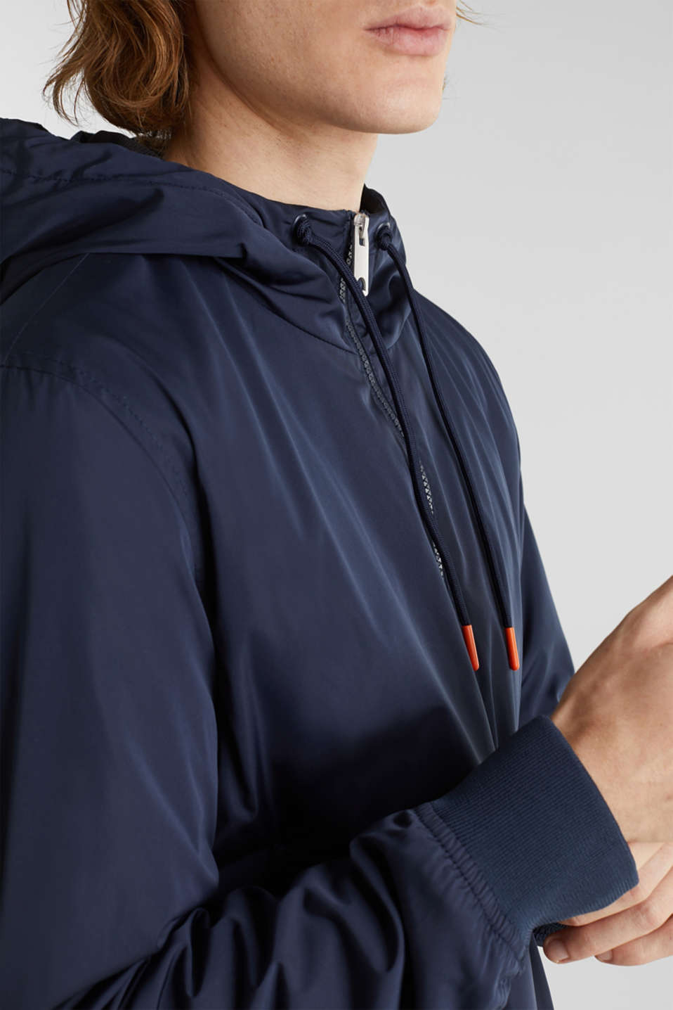 Nylon bomber jacket with a hood, DARK BLUE, detail image number 6