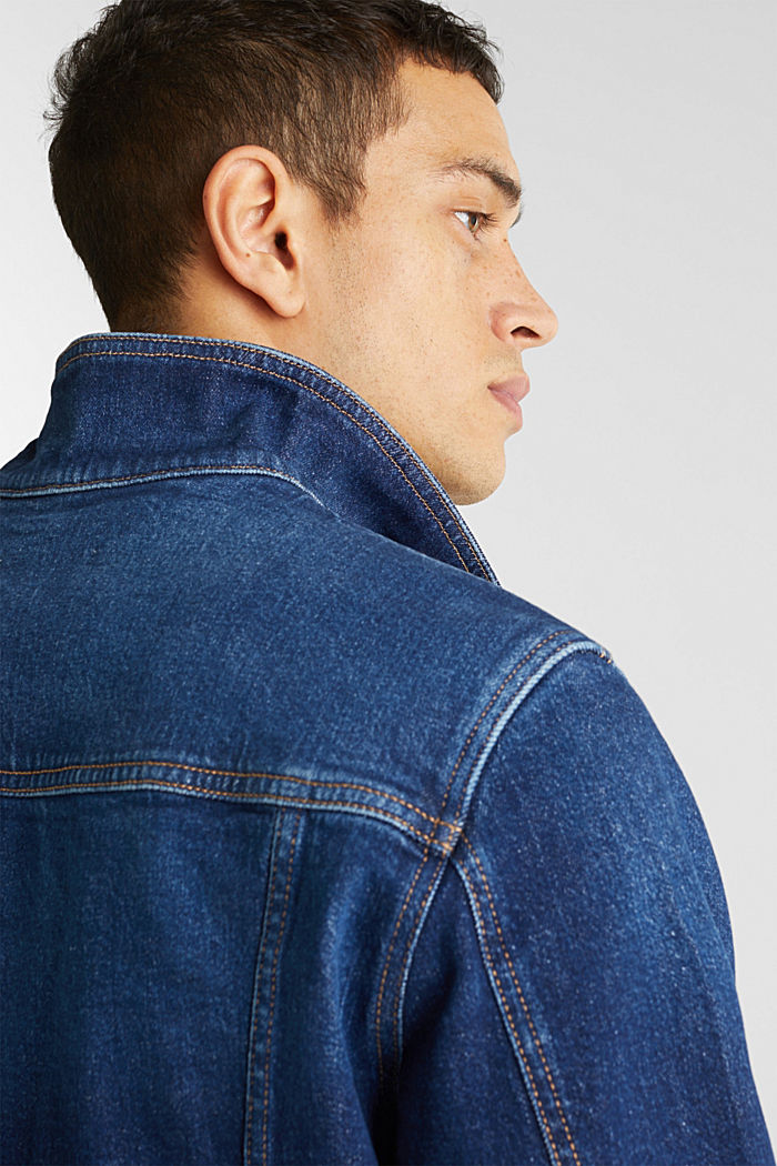 Denim jacket with stretch for comfort, BLUE DARK WASHED, detail image number 6