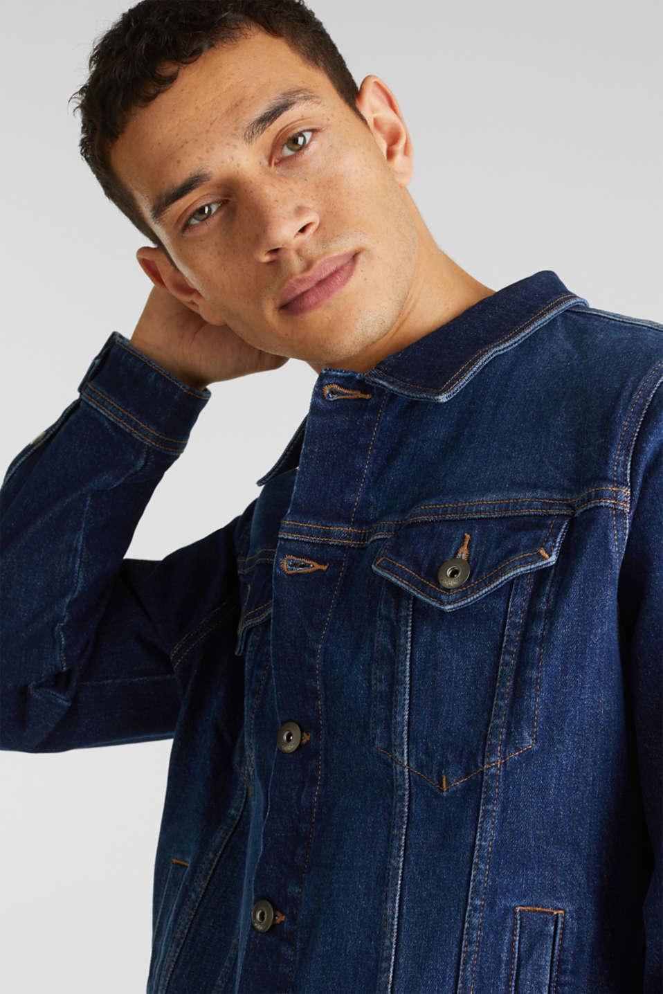 Jean jacket with a print, BLUE DARK WASH, detail image number 5
