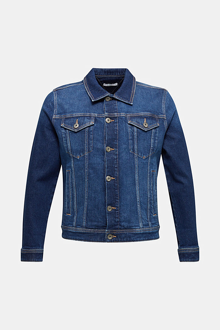 Denim jacket with stretch for comfort, BLUE DARK WASHED, detail image number 7