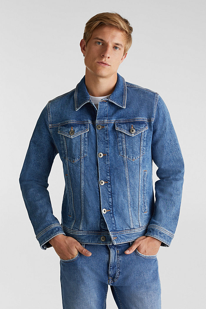 Denim jacket with stretch for comfort, BLUE LIGHT WASHED, detail image number 0