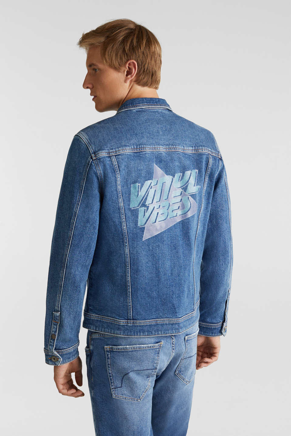 Jean jacket with a print, BLUE LIGHT WASH, detail image number 3
