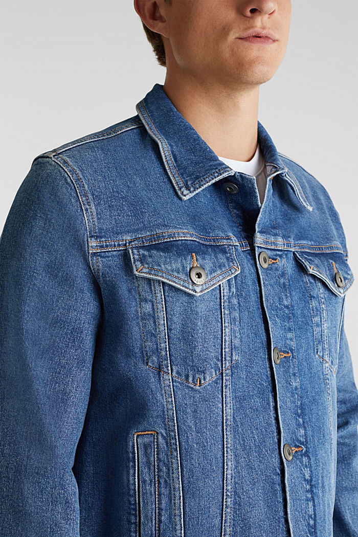 Denim jacket with stretch for comfort, BLUE LIGHT WASHED, detail image number 2
