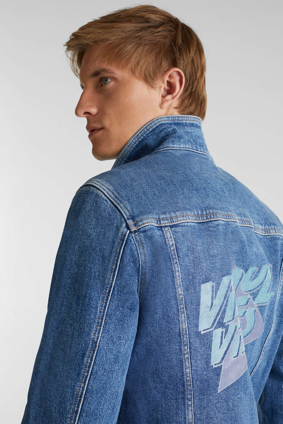 Jean jacket with a print, BLUE LIGHT WASH, detail image number 6