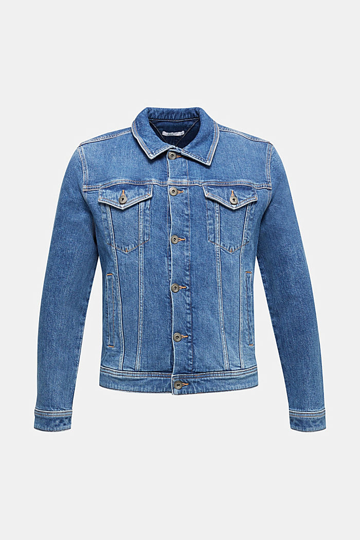 Denim jacket with stretch for comfort, BLUE LIGHT WASHED, overview