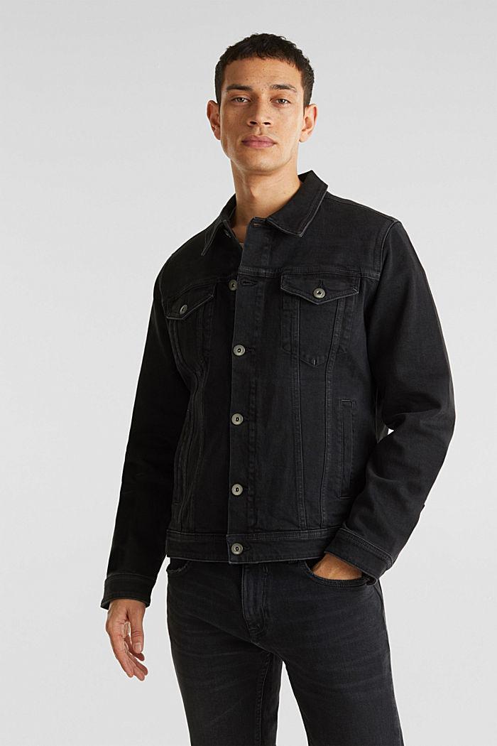 Jean jacket with a print, BLACK MEDIUM WASHED, detail image number 0