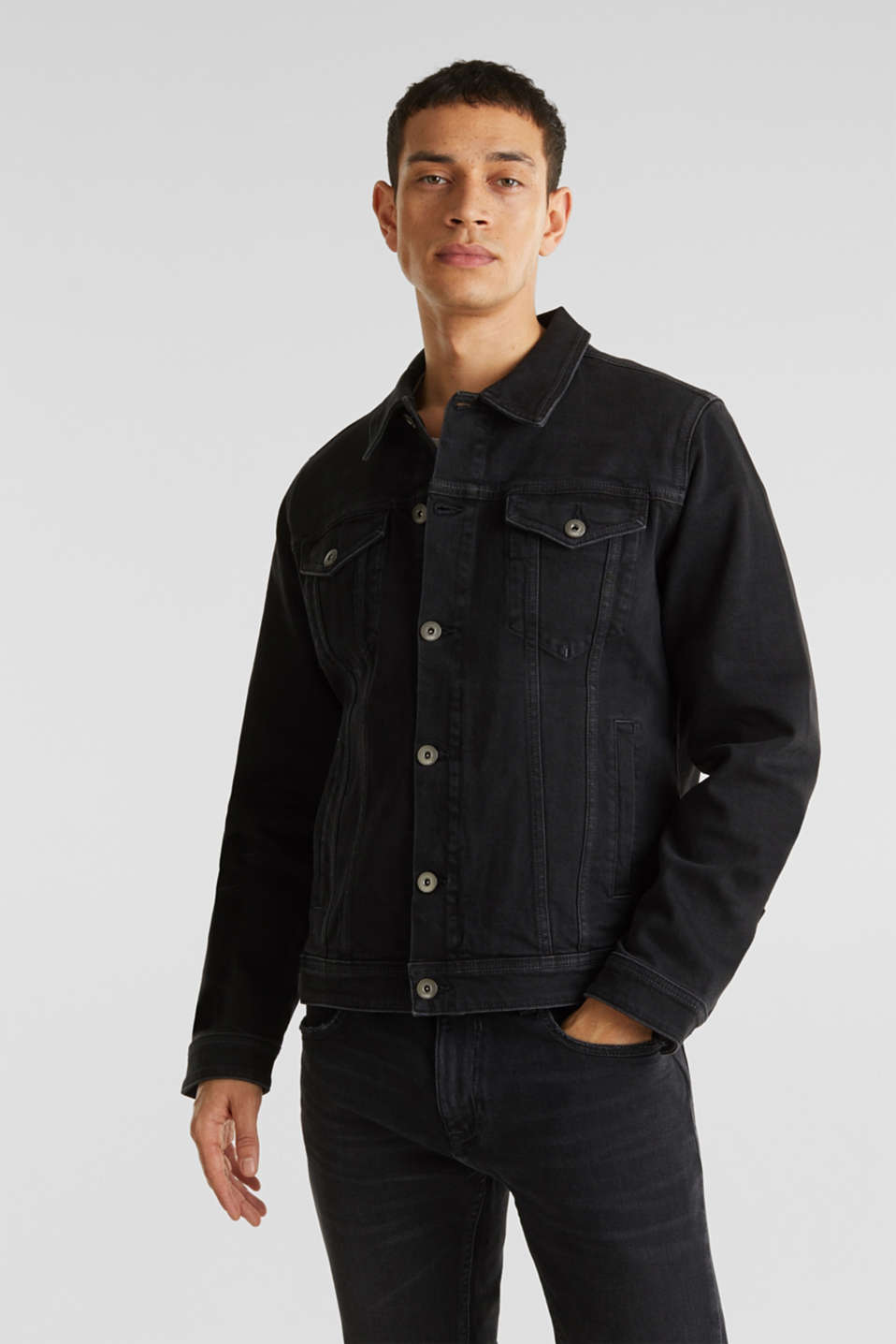 Jean jacket with a print, BLACK MEDIUM WASH, detail image number 0